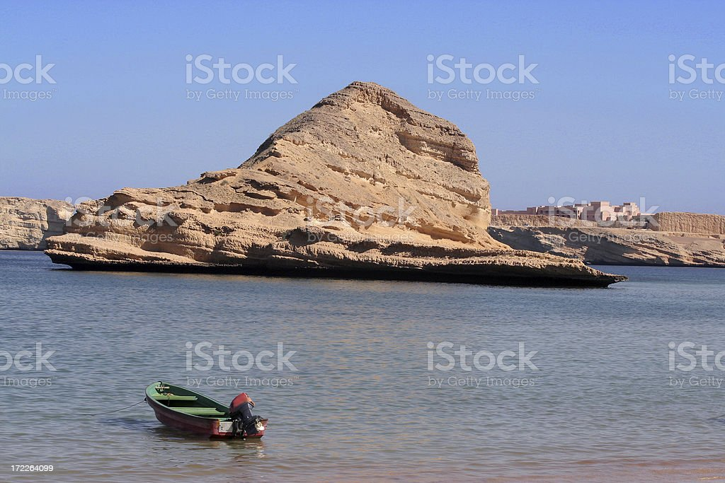 Lone Boat in Oman royalty-free stock photo