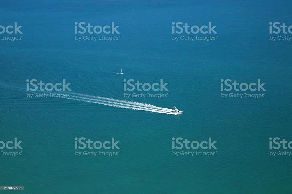Lone boater stock photo