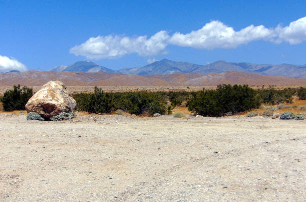 A Lone Boulder and the San Andreas Fault stock photo