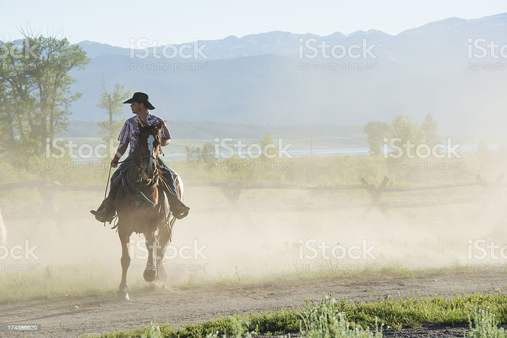 Lone Cowboy on a Dusty Trail stock photo