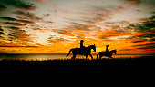 Mother and daughter on horseback in a field with as sunset.