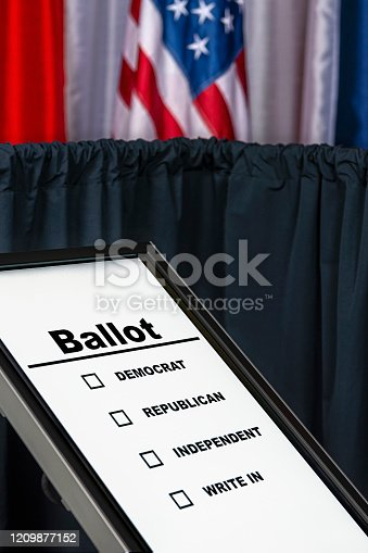1001757106 istock photo A lone Electronic touch screen voting ballot in US polling station 1209877152