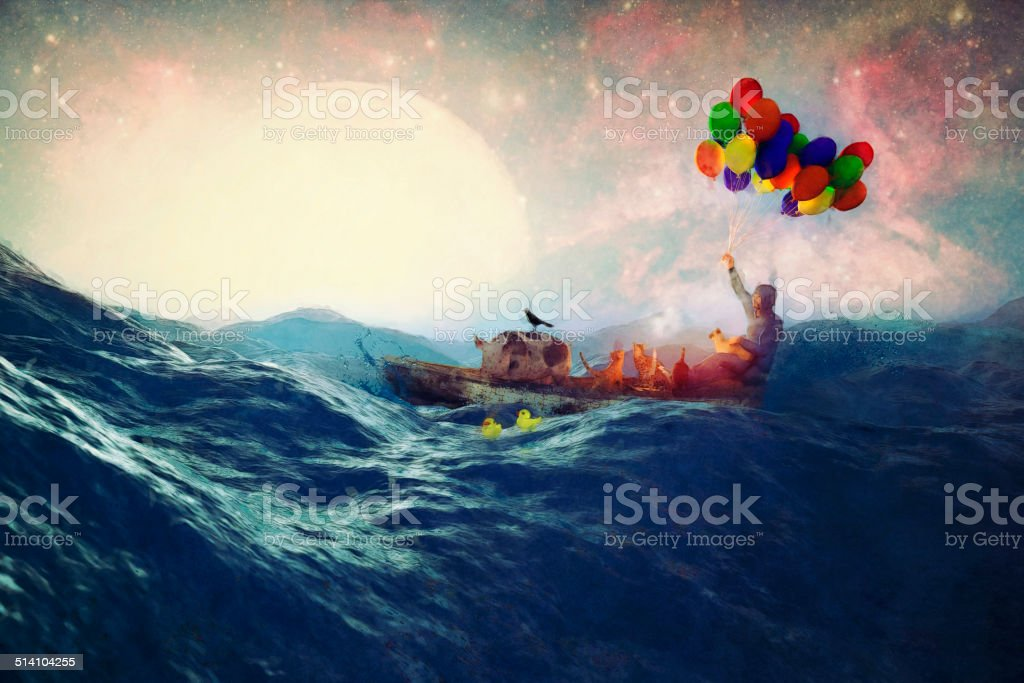 Lone fantasy ocean drifter with his pets stock photo