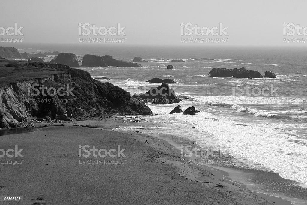Lone Figure on a Beach, Mendocino, Northern California, USA royalty-free stock photo