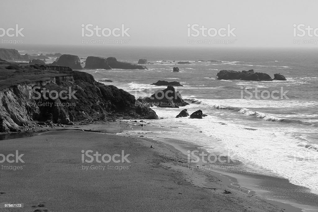 Lone Figure on a Beach, Mendocino, Northern California, USA stock photo