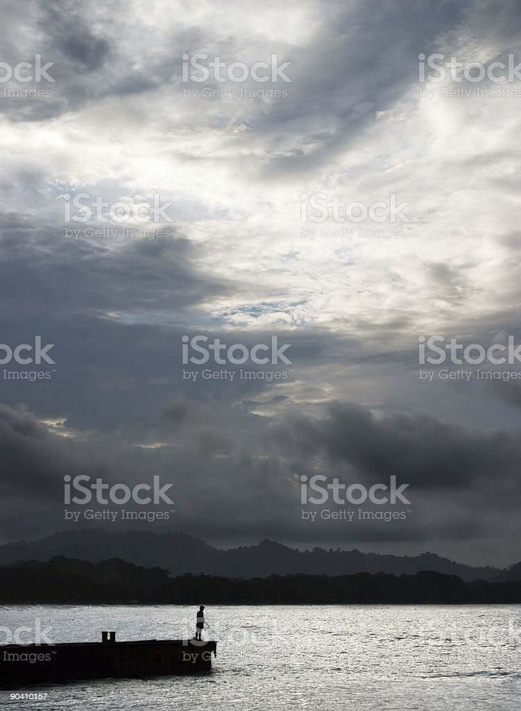 Lone Fisherman royalty-free stock photo