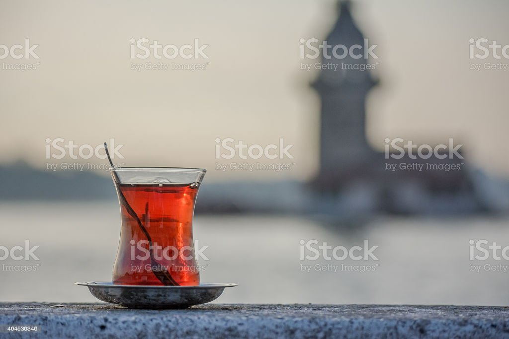 Lone glass of Turkish tea in rocky ledge in Instanbul stock photo