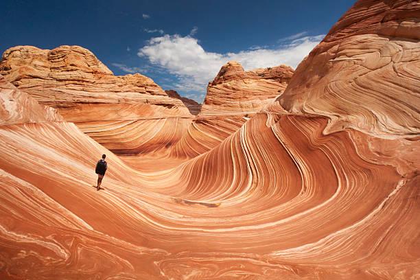 samotny turysta w arizonie wave - geologia zdjęcia i obrazy z banku zdjęć