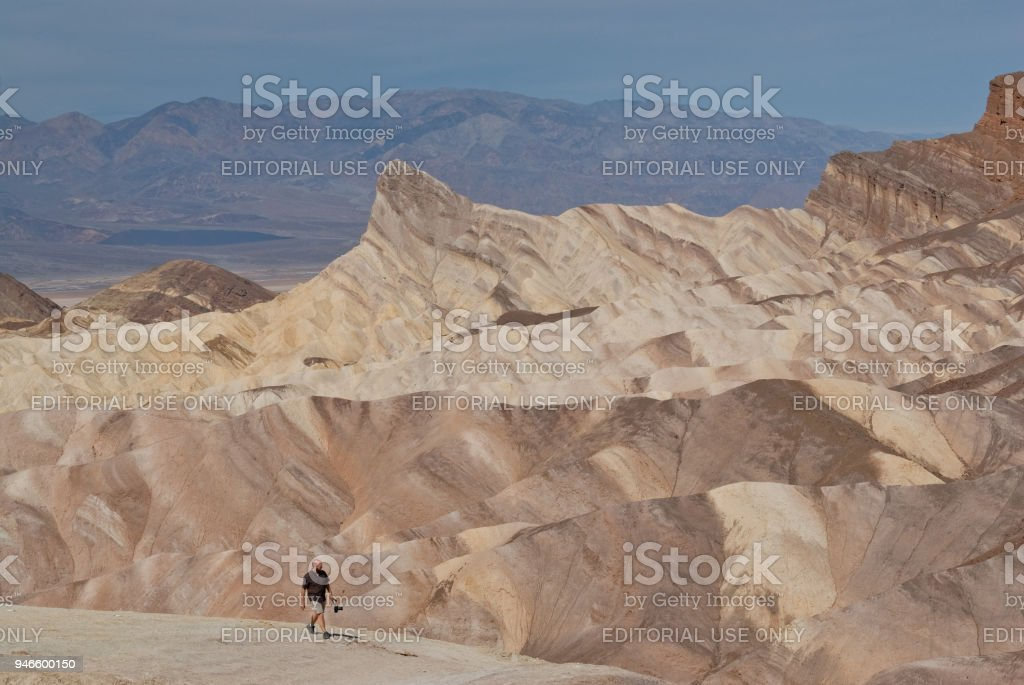 Hiker near Zabriskie Point stock photo