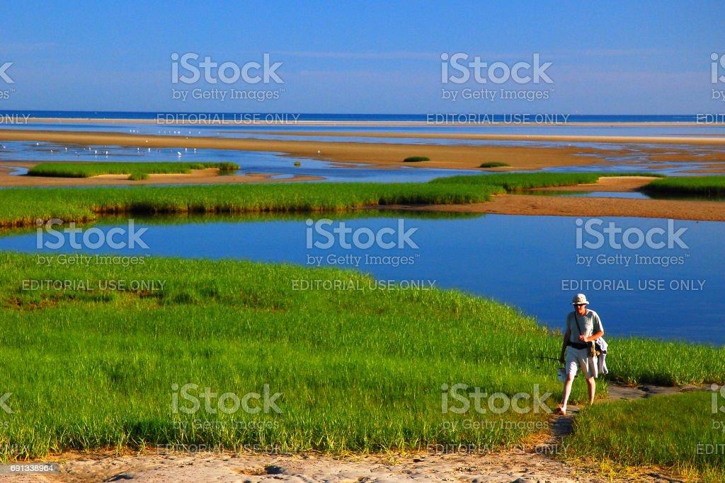 Lone hiker stock photo