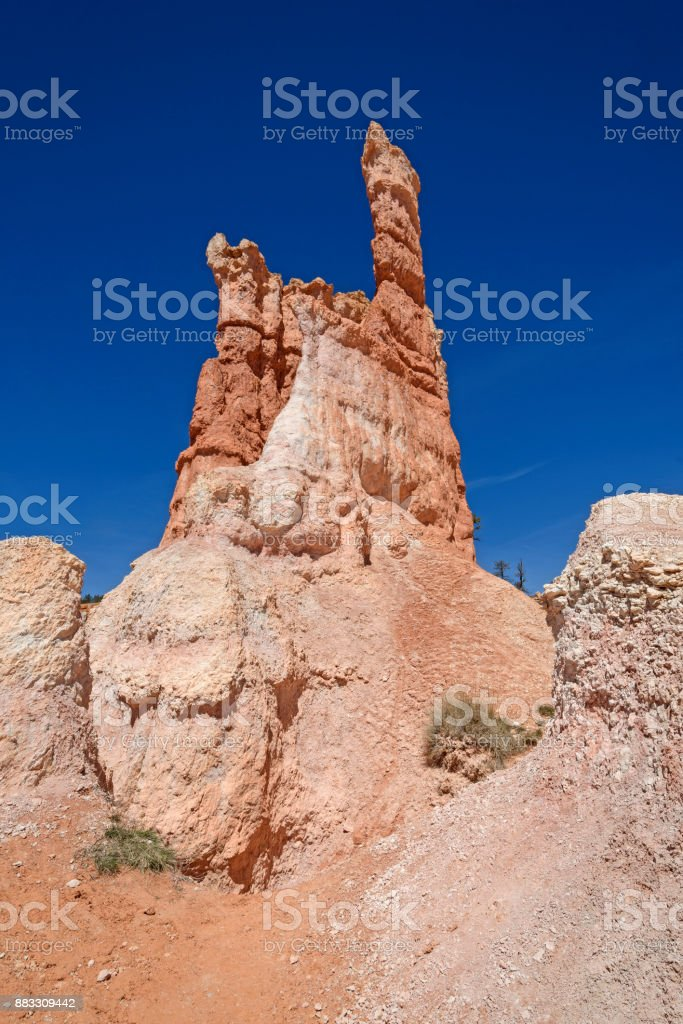 Lone Hoodoo Against the Sky stock photo