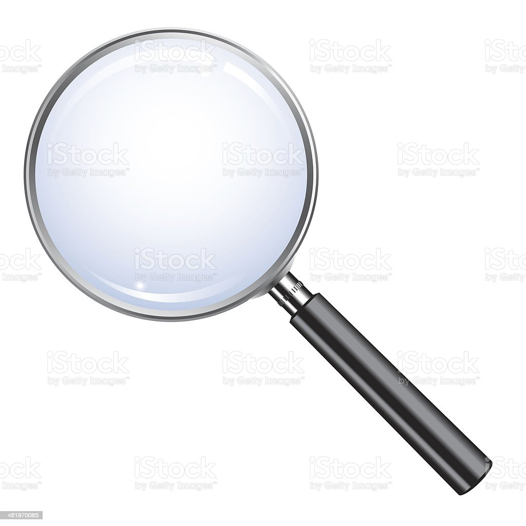 Lone magnifying glass over a white background stock photo