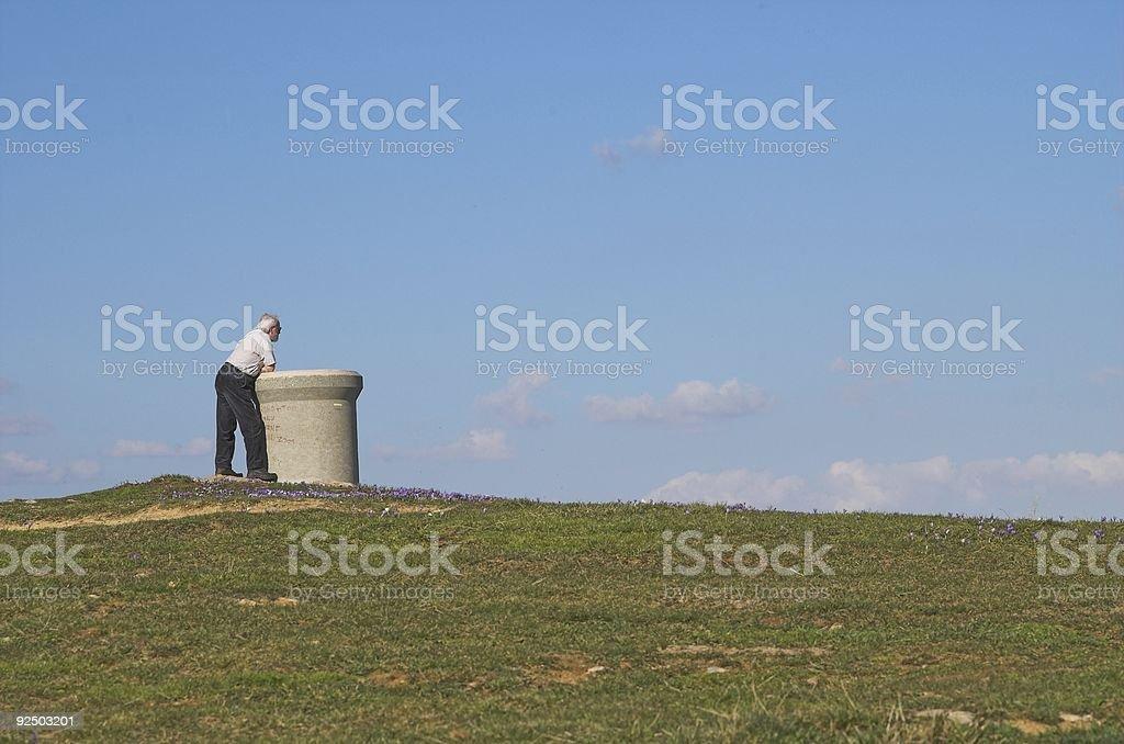 Lone man looking horizon (Not croped) royalty-free stock photo