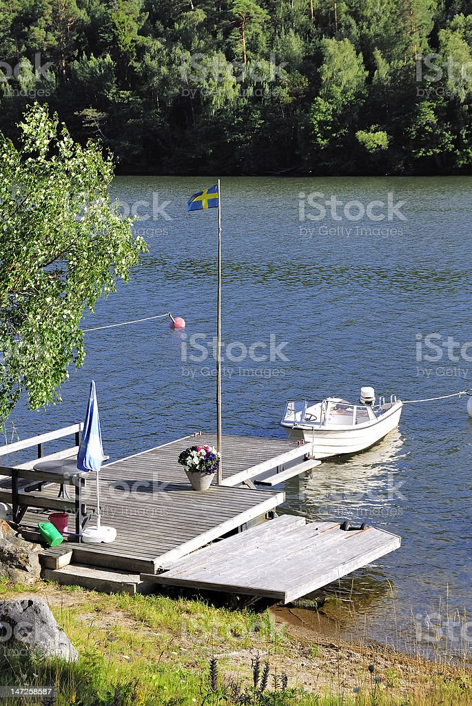 Lone motorboat royalty-free stock photo