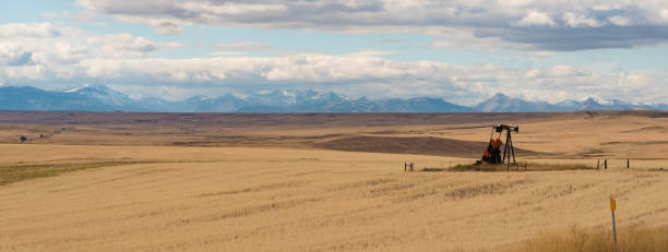 Lone Oil Well in Montana stock photo