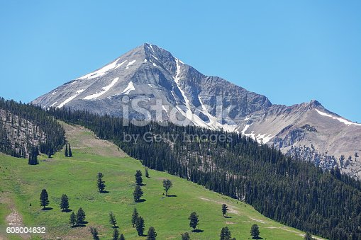 Lone Peak View Big Sky in summer under sunny  blue sky. Big Sky, Montana, USA.