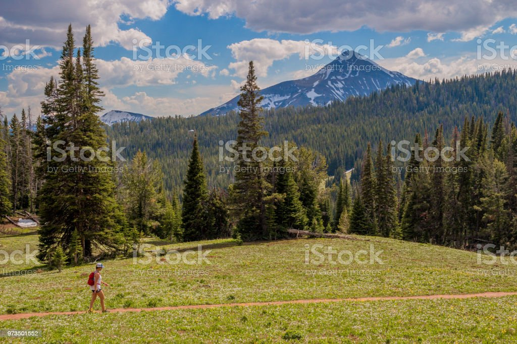 Lone Peak Hiker stock photo