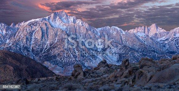 Lone Pine Peak and Mount Whitney, Sierra Nevada Range, California.