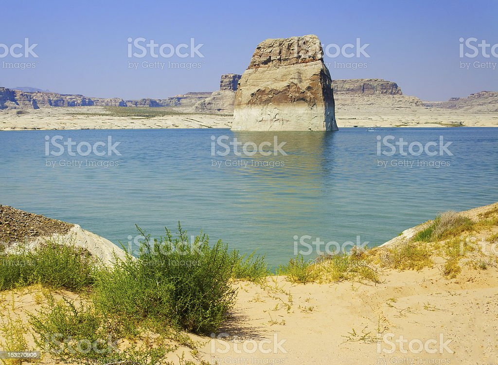 Lone Rock in Lake Powell, Page, Arizona stock photo
