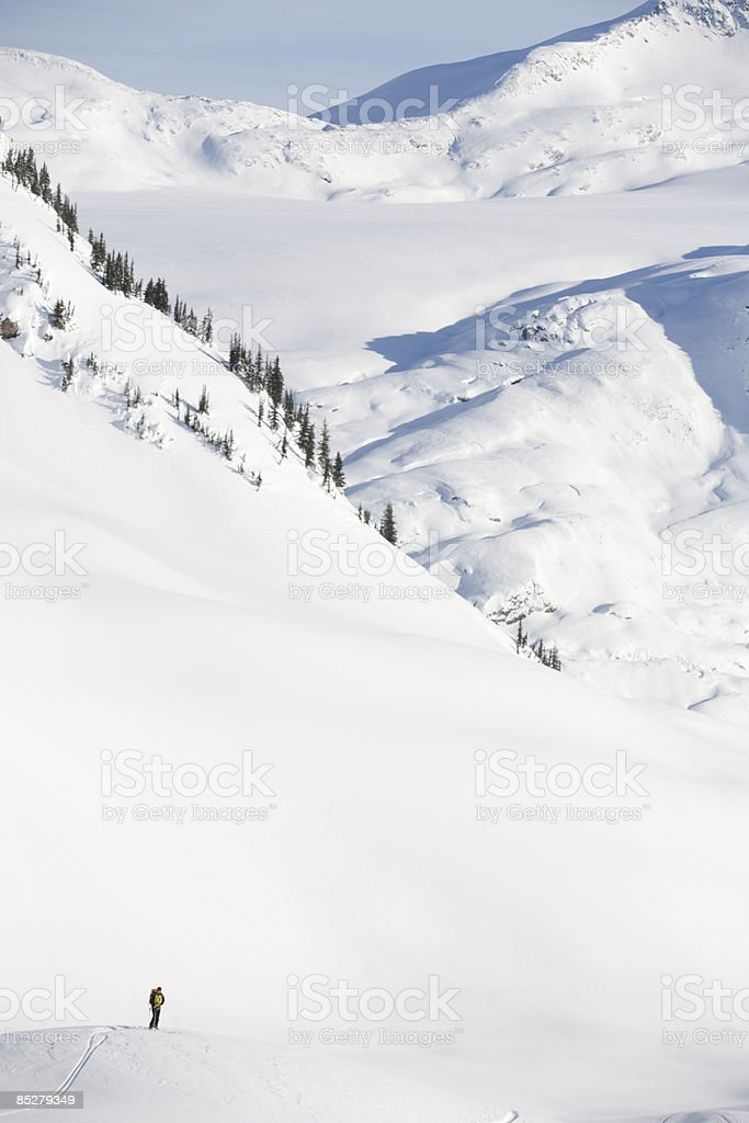 A lone skier in the backcountry. royalty-free stock photo