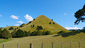 Lone steep grassy hill towers towards the sunny sky near scenic countryside road near Raglan. Beautiful shot of a tree covered hill in the picturesque New Zealand outback. Idyllic rural landscape.