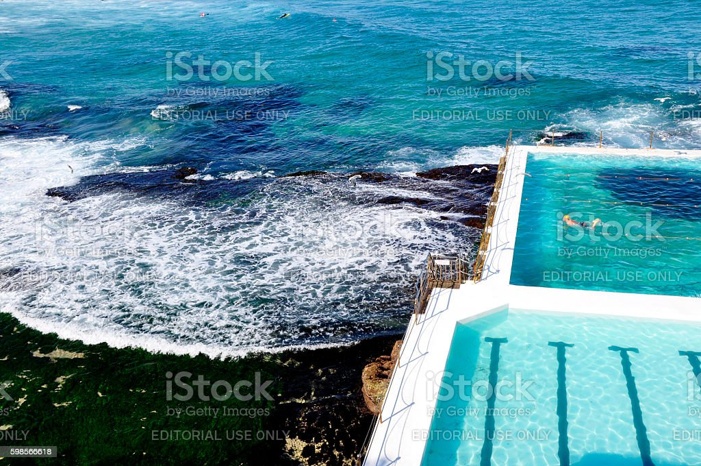 Lone swimmer at Icebergs Pool Bondi stock photo