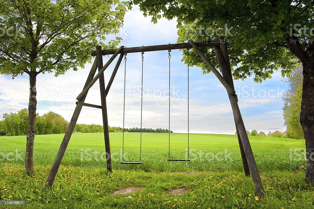 Lone swing seat stock photo