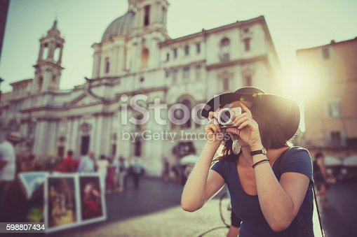 istock Lone traveler tourist woman  in Rome 598807434