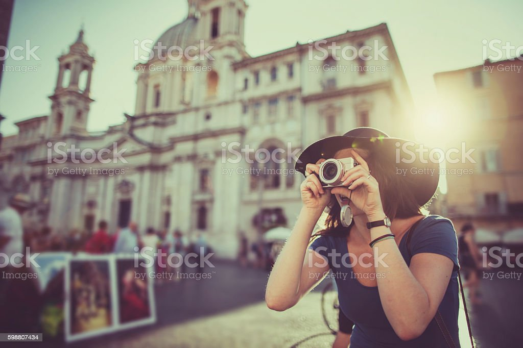 Lone traveler tourist woman  in Rome - Photo
