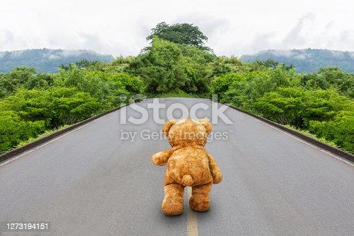 Lone walked teddy bear on lonely road landscape.