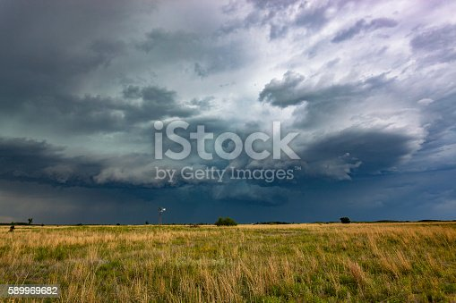 A solitary windmill or wind-pump on windswept grasslands harnesses energy from a passing severe storm.  Horizontal, copy space.