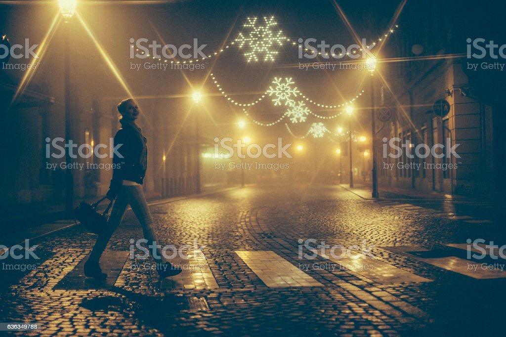 Lone Woman Portrait in the Winter City stock photo