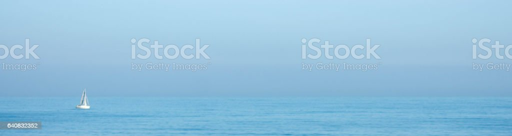 A lone yacht on the North Sea stock photo