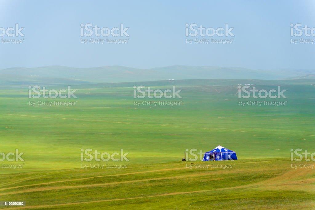 Lone Yurt Mongolian Steppe Rural Grassland stock photo