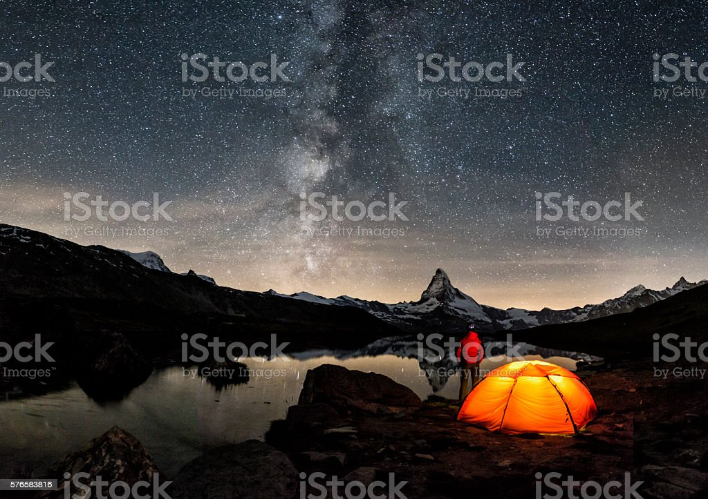 Loneley Camper under Milky Way at Matterhorn stock photo