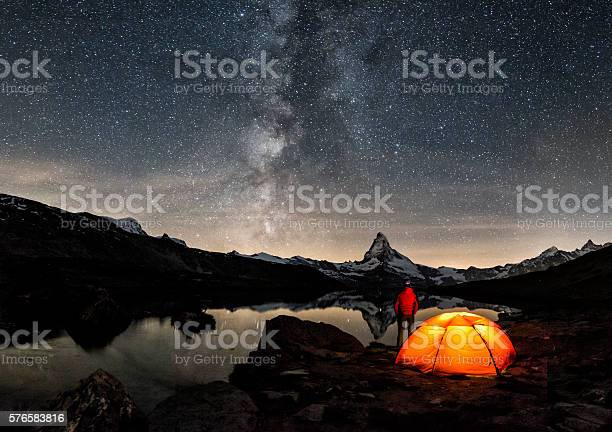 An illuminated tent under Milky Way at Matterhorn in Switzerland