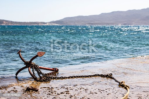istock Lonely anchor on the ground near the sea 1028768602