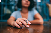 istock Lonely and Sad Woman Smoking 1288210959