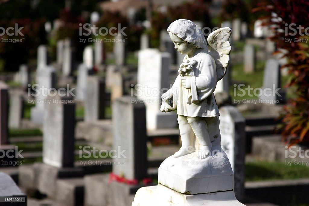 Lonely Angel Gravestone stock photo