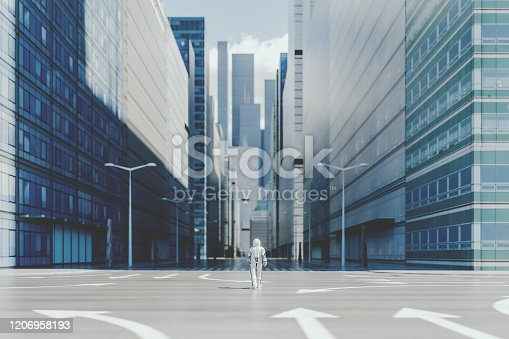 Lonely astronaut walking in empty city. This is entirely 3D generated image.