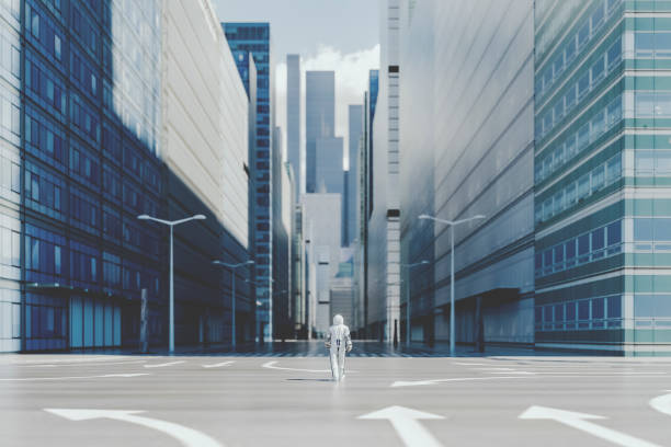 lonely astronaut walking in empty city - город призрак стоковые фото и изображения