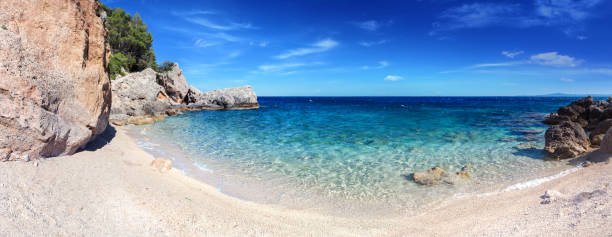 Lonely Bay - Mediterranean Sunny Beach, crystal clear water in Adriatic Sea stock photo
