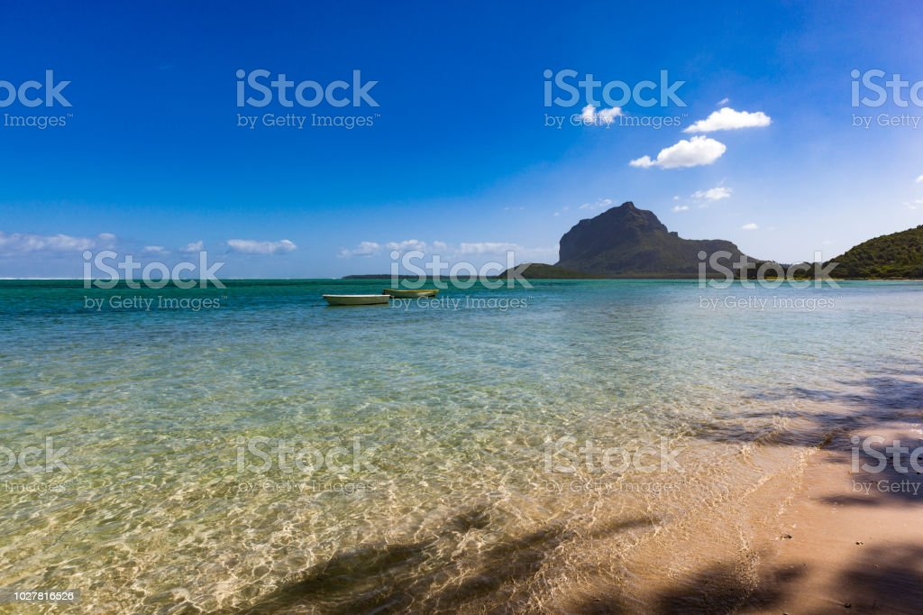 lonely beach at le morne peninsula on mauritius island, africa stock photo