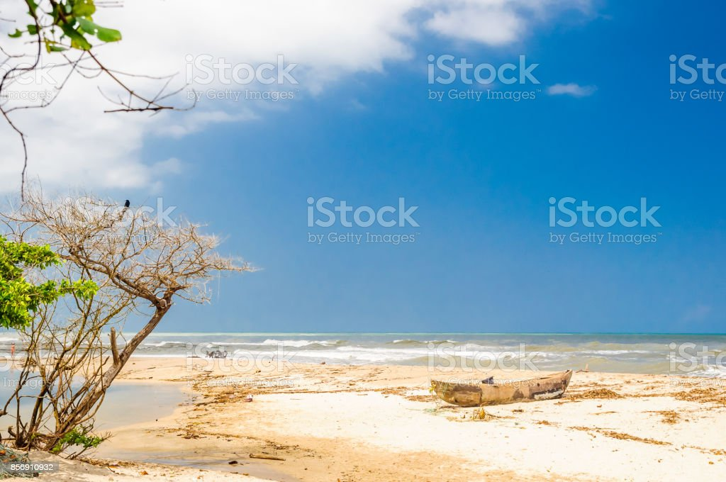 Lonely beach by palomino in Colombia stock photo