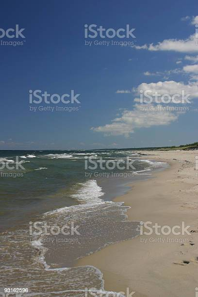 Lonely Beach - golden sand and blue sky