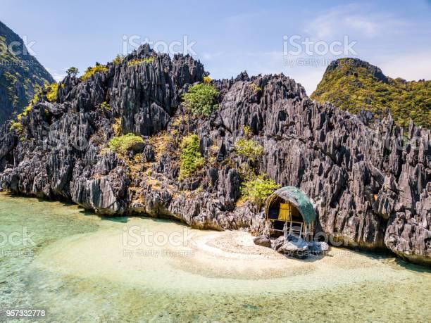 Lonely Beach Hut Tapiutan Island El Nido Palawan Philippines Stock Photo - Download Image Now