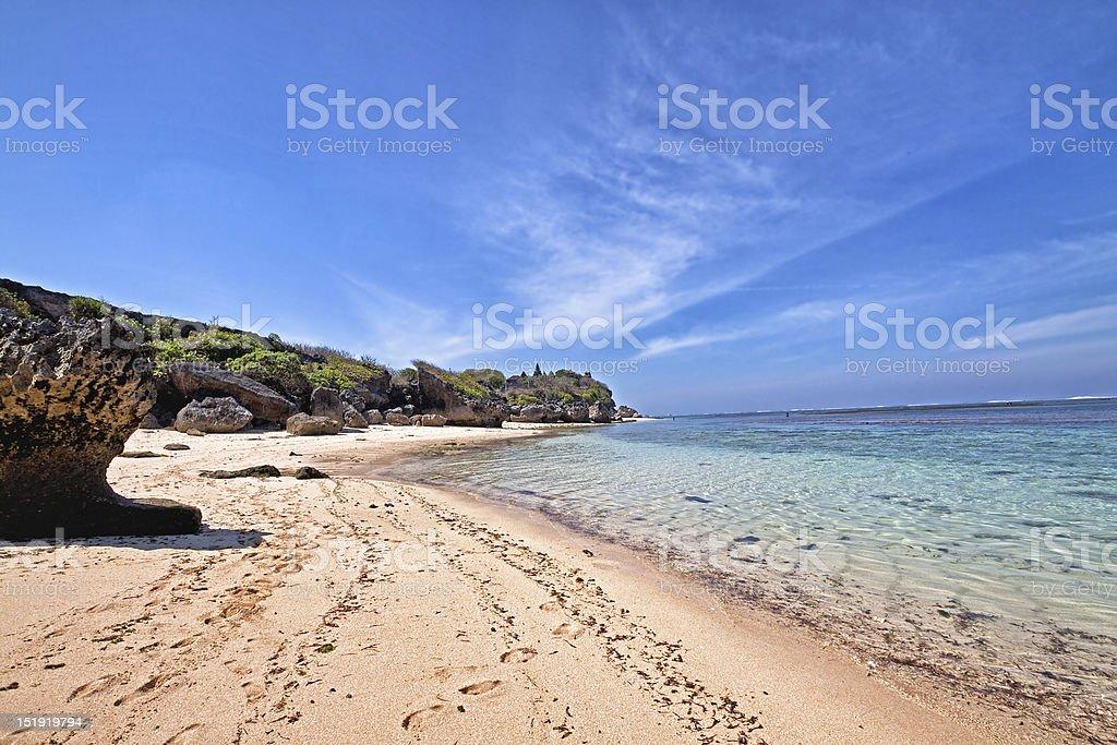 Lonely Beach in Nusa Dua, Bali, Indonesia stock photo