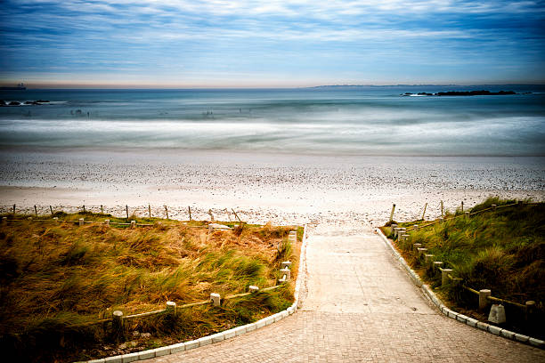 Lonely beach with surfers in the sea stock photo