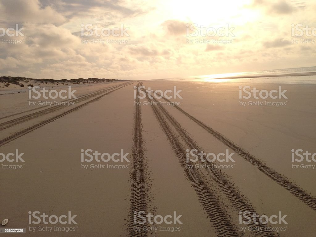 Lonely beach with vehicle tracks going past stock photo