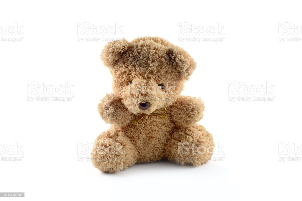 lonely bear doll isolate royalty-free stock photo